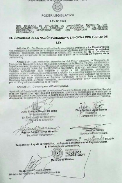 La emergencia ambiental declarada por el presidente paraguayo Mario Abdo Benítez