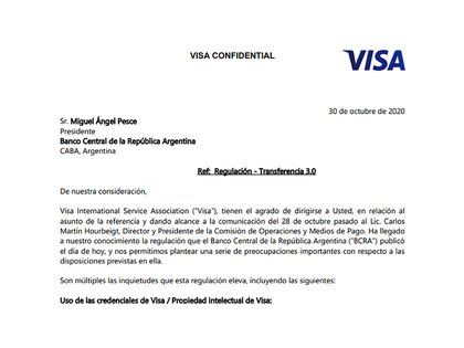 La nota que Visa envió al presidente del Banco Central, Miguel Pesce
