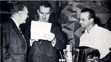 Junto a Jorge Luis Borges y Ástor Piazzolla