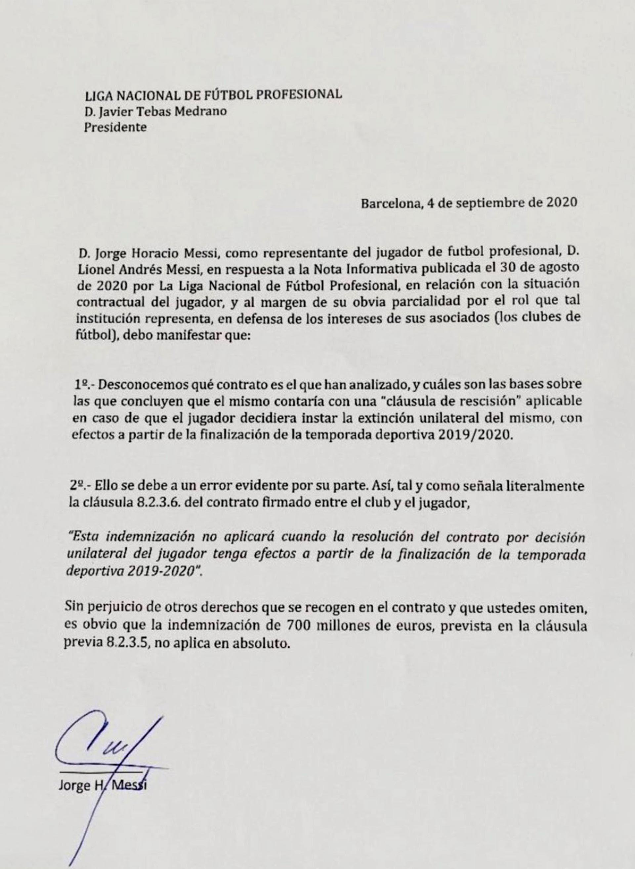 El comunicado de La Liga de España a Jorge Messi