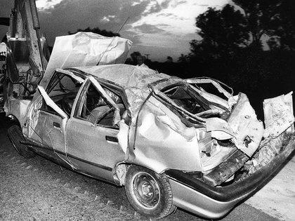 Así quedó el auto en que viajaba Monzón, durante una salida de prisión por buena conducta, donde cumplía la condena por el femicido de Alicia Muñiz.