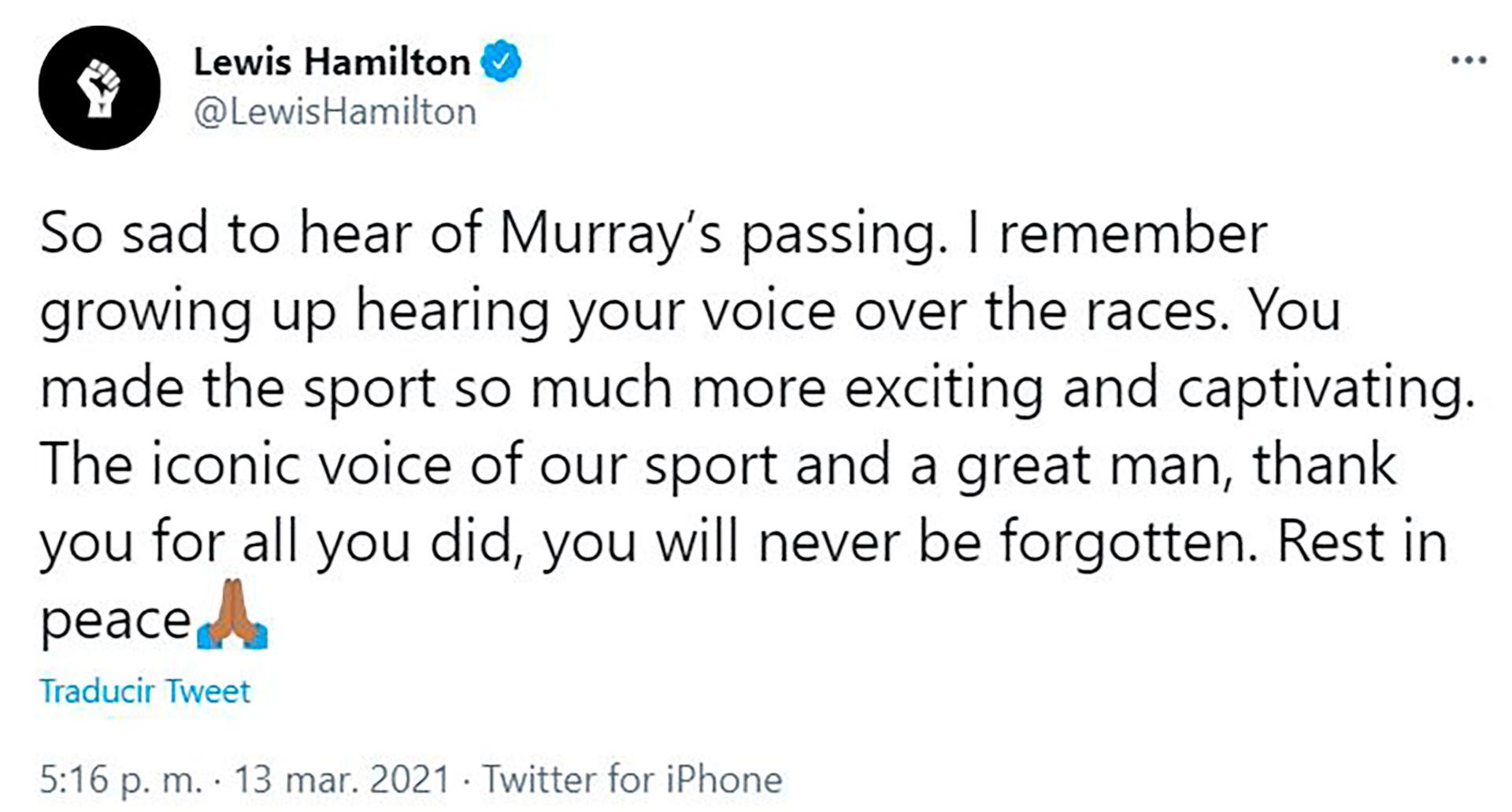 El comentario de Lewis Hamilton tras la muerte de Murray Walker