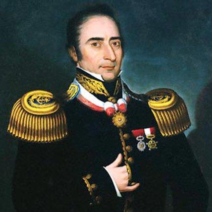 Retrato  de Bouchard, en el que se ve el sol, la condecoración otorgada por el gobierno peruano.