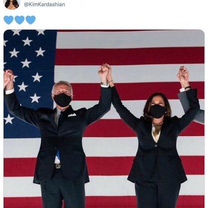 Kim Kardashian felicitó a Joe Biden (Captura de Pantalla)