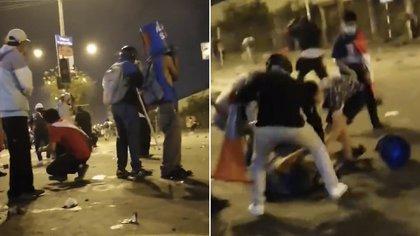 El joven con el casco improvisado antes del disparo, y luego del impacto siendo atendido por sus compañeros