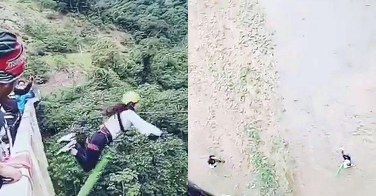 """Error humano"""": el dramático momento en que una joven salta en bungee jumping  y se estrella contra el suelo - Infobae"""