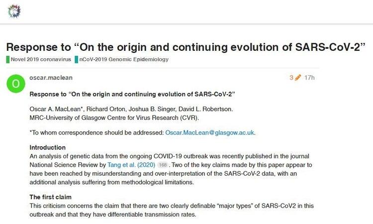 La respuesta hecha por científicos de la Universidad de Glasgow al trabajo de los chinos sobre un segundo tipo de COVID-19