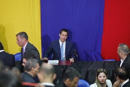 Venezuelan opposition leader Juan Guaido, who many nations have recognised as the country's rightful interim ruler, is seen after being re-elected as the head of congress by Venezuelan opposition legislators, in Caracas, Venezuela January 5, 2020. REUTERS/Fausto Torrealba NO RESALES. NO ARCHIVES.