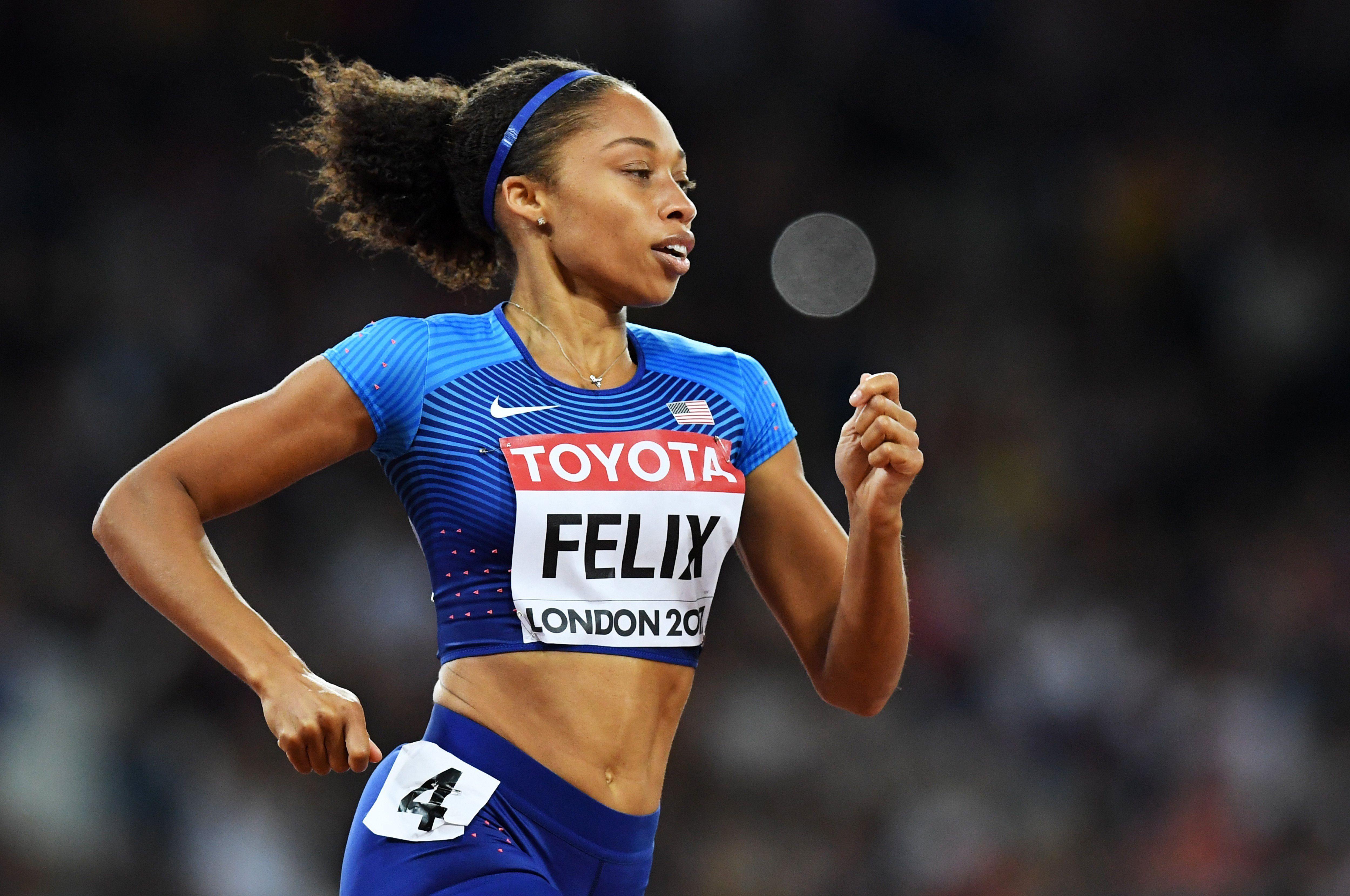 En la imagen, la velocista estadounidense Allyson Felix, la atleta más condecorada en la lista con nueve medallas olímpicas. EFE/Facundo Arrizabalaga/Archivo