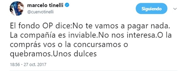 Tuit de Marcelo Tinelli