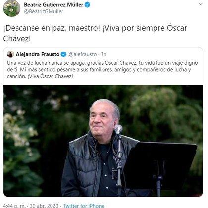 Twit Óscar Chávez (Foto: Twitter@BeatrizGMuller)