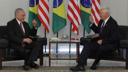 Mike Pence se reunió con Michel Temer (AFP)