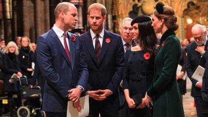 Los duques de Sussex y Cambridge cada vez más distanciados (Shutterstock)