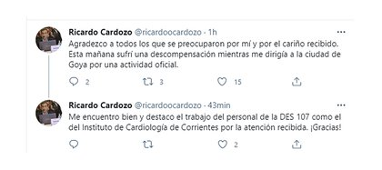 Horas después del incidente, Cardozo apareció desde sus redes sociales para agradecer a quienes se preocuparon por él y llevar tranquilidad a la población acerca de su estado de salud.