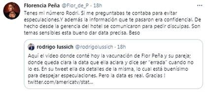 El ida y vuelta entre Flor Peña y Rodrigo Lussich