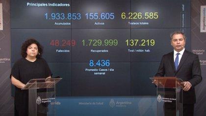 Carla Vizzotti y Alejandro Costa, en uno de los reportes sobre la situación epidemiológica en el país