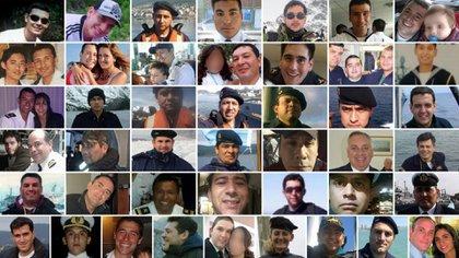 Los 44 tripulantes del A.R.A. San Juan que fueron declarados muertos luego del accidente que sufrió el submarino.