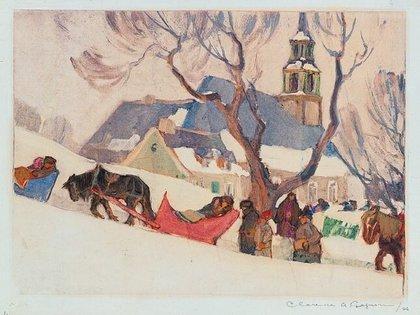 """""""Yendo de la iglesia a casa"""", de Clarence Gagnon (National Gallery de Canadá)"""