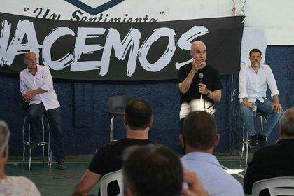Néstor Grindetti, Horacio Rodríguez Larreta y Diego Kravetz, en el acto realizado el mes pasado en Lanús