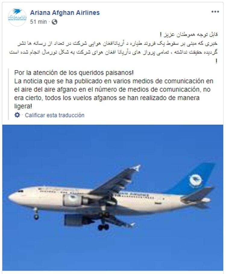 La empresa Ariana Airlines desmiente las informaciones sobre la caída de uno de sus aviones (Facebook)