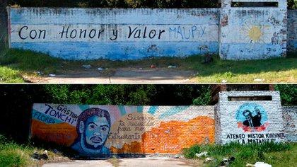 Antes y después de la pared que, sobre la avenida Crovara, homenajeaba a los 11 caídos en defensa del Regimiento de La Tablada. Ahora recuerda a una víctima del gatillo fácil (foto: Gustavo Gavotti)