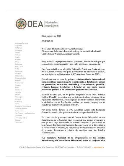 La respuesta de Luis Almagro al pedido del Centro Wiesenthal
