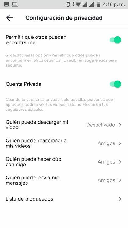 Como en Instagram, es posible configurar una cuenta como privada en TikTok