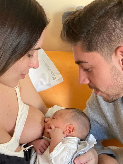 Mina Bonino, su hijo Benicio y su pareja, Federico Valverde (Instagram)