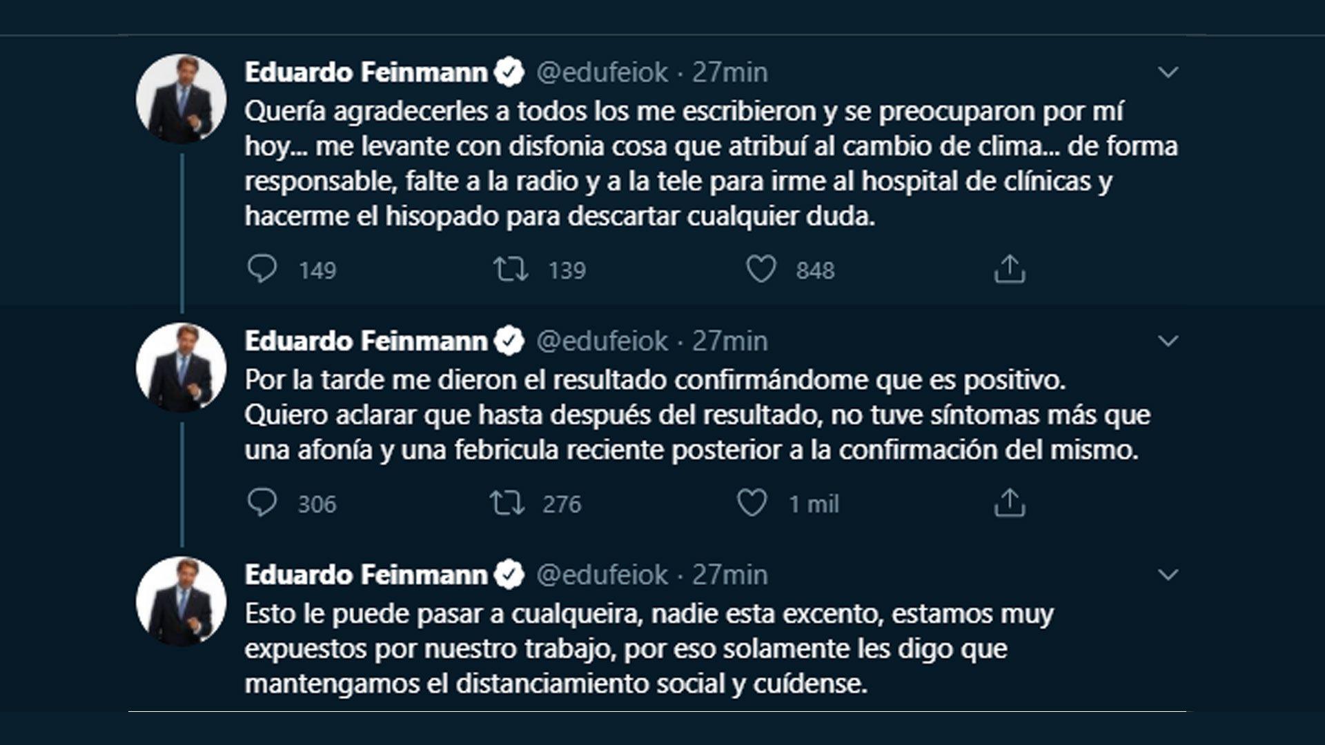 Eduardo Feinmann anunciando Covid positivo
