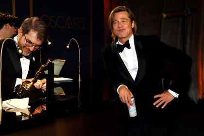 Brad Pitt tras ganar su Oscar a mejor actor de reparto (9 de febrero)