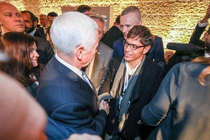 Axel Kicillof se saluda Presidente israelí Reuven Rivlin
