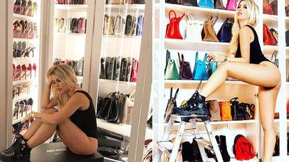 Algunas de las fotos con la modelo muestra de su vestidor