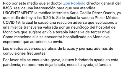 La prima de la doctora pidió ayuda a Zoé robledo, director del IMSS, para que fuera atendida en un hospital de alta especialidad debido a la gravedad de su caso Foto: (Captura de pantalla Facebook)