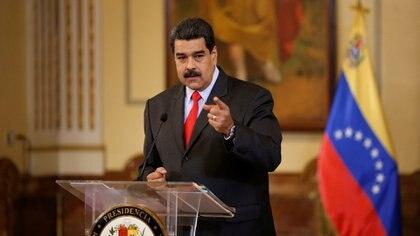 Nicolas Maduro durante una conferencia de noticias en Caracas (Reuters)