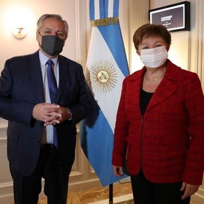 Alberto Fernández y Kristalina Georgieva durante su encuentro en Roma