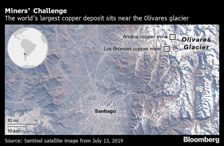 La ubicación de las minas Andina y Los Bronces, a unos 65 kilómetros de Santiago (Bloomberg)