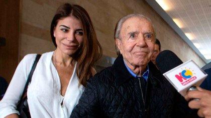 Carlos Menem y su hija Zulemita (foto de archivoAFP)