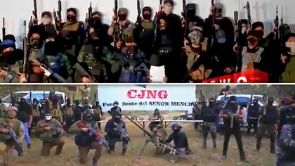 Alleged members of the CJNG launched a video challenge to the United Cartels (Photo: Special)