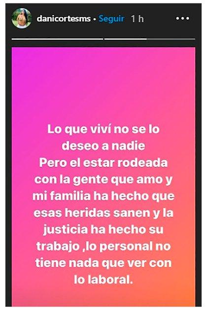 La publicación de Daniela Cortés, ex pareja de Villa, en una de sus stories de Instagram