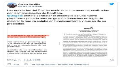 Contratistas se quejan vía Twitter del fallo en BogData / (Twitter: @CarlosCarrilloA).