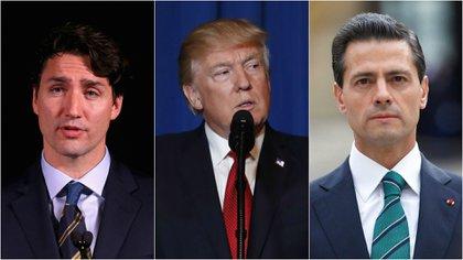 El primer ministro de Canadá, Justin Trudeau, el presidente de Estados Unidos, Donald Trump, y el mandatario saliente mexicano, Enrique Peña Nieto