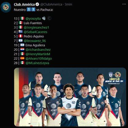 Las once águilas que saltarán al terreno de juego (Foto: Twitter@ClubAmerica)