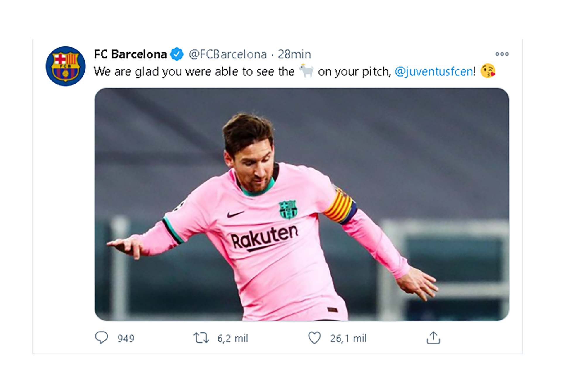 Tuit del Barcelona a la Juventus