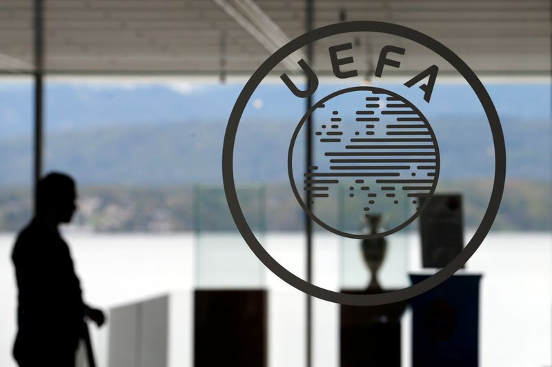 FILE PHOTO: A logo is pictured on UEFA headquarters in Nyon, Switzerland, April 15, 2016.    REUTERS/Denis Balibouse