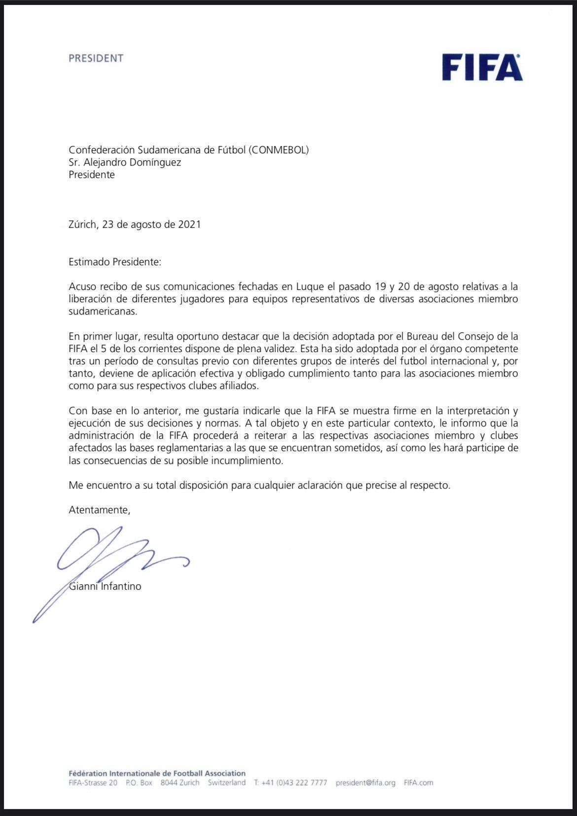 Carta del presidente de la FIFA, Gianni Infantino, al presidente de la Conmebol
