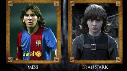 Lionel Messi (Barcelona) con Bran Stark
