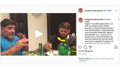 Diego Maradona Junior en un posteo para su papá, cuando fue operado (Foto: @diegomaradonajunior)