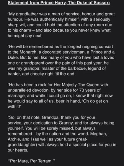 El comunicado del príncipe Harry