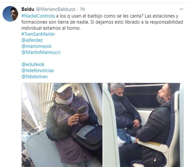 Mariano Balduzzi (43) es empleado de la industria alimentaria y pasajero del San Martín desde hace más de cinco años. Hoy hizo un descargo en Twitter por las malas condiciones en que tuvo que viajar.