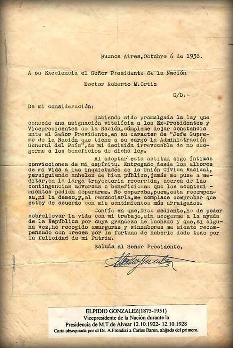 La carta que le envió al presidente Ortiz para rechazar el dinero que le envió
